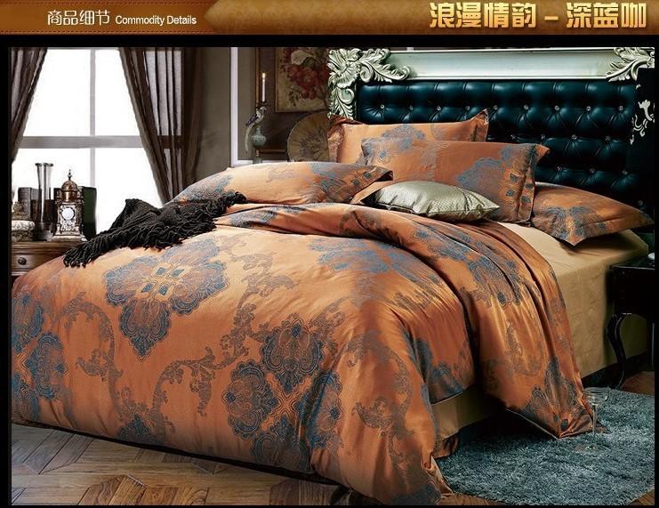 Luxo azul brown satin jacquard bedding conjunto de consolador rei queen size duvet cover colcha folha de cama(China (Mainland))