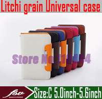 [ Litchi grain ] 5.0''inch -5.6''inch wallet cover case for Philips Xenium T3500 W3500 phone sets & leather crust + freeshipping