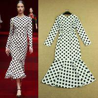 Runway fashion 2015 elegant long-sleeve polka dot print trumpet pressure pleated dress