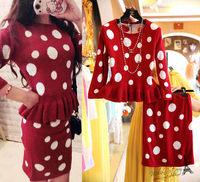 Free shipping 2014 autumn new women clothing set,skirt suit,women elegant dot print ruffles sweater and skirt