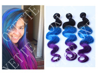 Discount!!Oxette Blue Purple Ombre Brazilian Human Hair Weaves Body Wave, Three Tone Colors Bundles Hair Extensions 3pcs lot