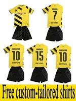 2014/15 Borussia Dortmund BVB kids home yellow away black soccer football jersey + shorts kits,soccer uniforms embroidered logo