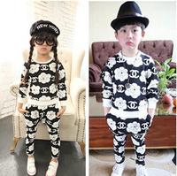 Free Shipping 1set/lot New arrival Retail Clothing set girls boys CC rose suits autumn children suit kids coat + pants 2 pieces