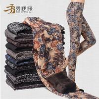 2014 fashion autumn winter Thickening leggings women tattoo no pilling velvet Warm pants retro flower pants capirs