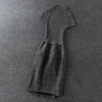 2014 news high quality Knitting stitching Slim waist plaid dress