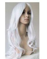Long Wavy Silver white cosplay party hair Wig  Natural Kanekalon Fiber no lace Hair full Wigs