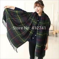 Winter New British grid Scarves for Women Big size Thicker Warmth Knitted Tassels Scarf Collar Women's Muffler Shawls M852