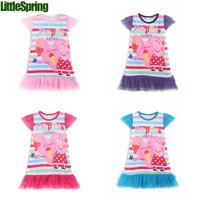 LittleSpring Girls Dress! Summer kids tutu fashion cotton leopard casual dress lace puff sleeve princess shining dress
