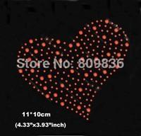 Lovely heart design hot fix rhinestones heat transfer design iron on motifs patches,sales promotion rhinestones(ss-6028)