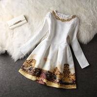 S-XL  2014 atutumn elegant dress women's print  bottoming Slim waist was thin long-sleeved dress  #XU089