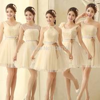 2014 design short one shoulder tube top slit neckline formal dress bandage sisters evening dress