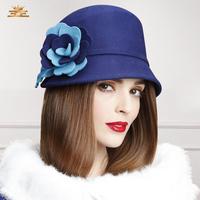 2015 new fashion women flower fedoras designer autumn and winter elegant woolen caps female adjustable dome hats free shipping