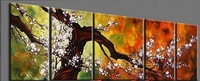 Free shipping -H313--5 panel Combination Beautiful Asian Blossom Abstract Zen Art Painting