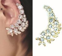 New Arrival Wholesale Fashion Vintage Crystal Leaf Earrings Ear Cuff Earrings SE647