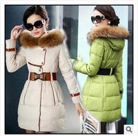 Wadded Jacket Female Winter 2014 Women Outerwear Luxury Large Fur Collar Slim Medium-Long Down Cotton-Padded Jacket BWB42