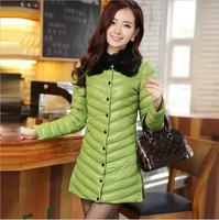 2014 Winter New Women Fur Collar Warm Winter Jacket Women Down Coat Long section PU leather parka women Army Green