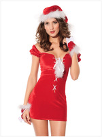 Europe and the United States sexy naughty Christmas short sleeved Red Velvet Christmas three piece set dresses Dropship DL7136