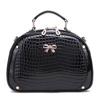 Fashion fashion women's handbag for Crocodile japanned leather shiny shell bag one shoulder handbag cross-body mini shell small