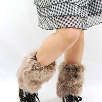 TRENDY FASHION WINTER AUTUMN 20cm SHORT SHOE BOOTS COVER TOPPER FURRY FUZZY FAUX ARTIFICIAL WOLF FUR WOMEN LEG WARMER J25