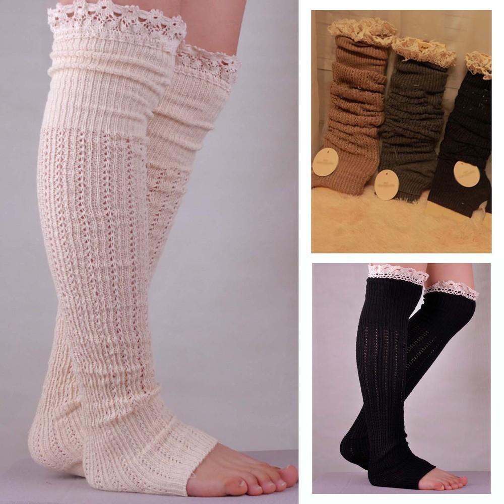 Knitting Pattern For Leg Socks : WIIPU New knitted cotton lace socks wool socks step foot ...