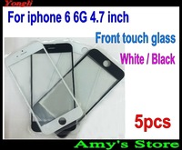 5pcs White / Black Front Outer Screen Glass Lens Cover Replacement Digitizer For iphone 6 6G 4.7'' inch Free Shipping