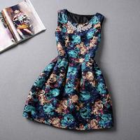 S-XL  Europe America size women's autumn New 2014 Hitz temperament women's flower print  sleeveless dress tutu dress #XU092