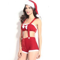 Sexy Plus Size Halloween Costumes For Women Red Santa Claus Cosplay Outfit 3 Pcs (Pant, Top ,Hat )