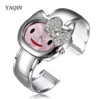 Watch Woman Cute Girl Cartoon Watches Hello Kitty Relogio Children Kids Quartz Rhinestones Bracelet Wristwatches Reloj