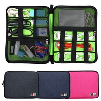 Large Cable Organizer Bag Carrying Case can put 2 Pcs HDD USB Flash Drive Double ZIpper Digital Organize Pouch