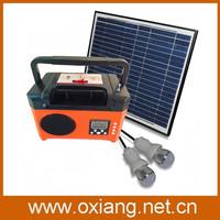 10w solar panel 12V/USB 5V DC solar power radio with led lights kit