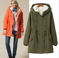 New 2014 Fashion Brand Long Winter Coat Women White Lamb wool Jacket Female Parka With Hood Army Green Black Outwear For Women