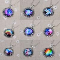Vintage Moon Crystal Round Pendant Necklaces Women Retro Jewelry