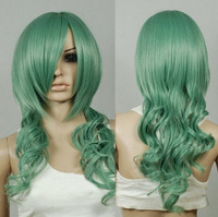 Jade Green Curly Long Cosplay Wig Natural Kanekalon Fiber no lace Hair full Wigs