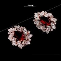 ZSE014 2014 New Luxury AAA Cubic Zirconia Flowers Stud Earrings for Women fashion Jewelry  bijoux POXE boucle d'oreille