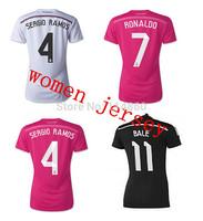 New AAA 14 15 Real Madrid jersey Women 2015 Real Madrid home away female soccer jersey Ronaldo bale James girl soccer shirt