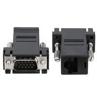 RJ45 Female to VGA Male Extender Adapter, Black - 12PCs