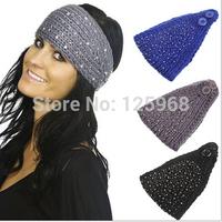 Free Shipping!2014 New 20pcs/lot Women Fashion Rhinestone Headbands,Ladies Handmade Knitted Crochet Hats,Head Wrap Hair Headband