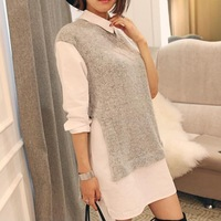 FSJ Splicing Knitted Sweaters Shirts Blouse Dress women's 2014 autumn winter longt-sleeve patchwork fake two piece fashion tops