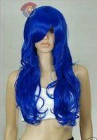 Royal Blue Long Curly Wavy Cosplay Party Wig Natural Kanekalon Fiber no lace Hair full Wigs