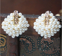 Fashion design double pearl earrings for women free shipping