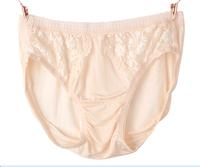 100% Silk Briefs Women Silk Underpants Lace decoration Black Pink Solid Color M L XL 3pieces