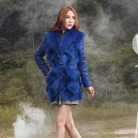 Free shipping! 2014 fur one piece sheepskin down slim fox fur coat medium-long female