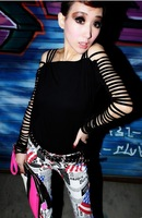 E-Unique New 2014 Autumn Winter Fashion Strap Personality Tassel Strapless Cutout Sexy Slim T-Shirt Women Tops WWB40