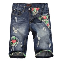 2014 Red play the trend of the hole denim shorts men's beggar pants capris
