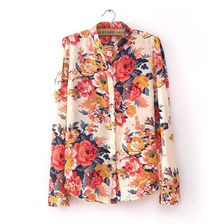 Женские рубашки с длинным рукавом цветные