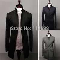 2014 autumn and winter double collar fur collar patchwork unique medium-long Men suit jacket