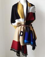 High quality autumn and winter fashion letter cashmere scarf female plaid stripe pashmina color block decoration shawl
