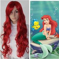 MERMAID ARIEL RED CURLY WAVE WIGNatural Kanekalon Fiber no lace Hair full Wigs