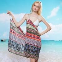 2014 New Summer Bohemian Deep V Wrap Ice silk Shawl Colorful Swimwear Bikini Cover Up Sarong Sexy Women Beach Dress