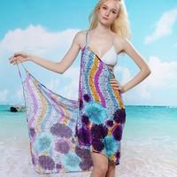 1pcs Sexy Lake Purple and blue Flowers Bikini Swimwear Cover Up Swim Suit Bathing Suits Beach Dress